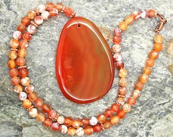 Orange Agate Gemstone Necklace - Beaded Necklace, Large Focal Bead, Brown Stone Necklace, Gemstone Necklace, Natural Stone