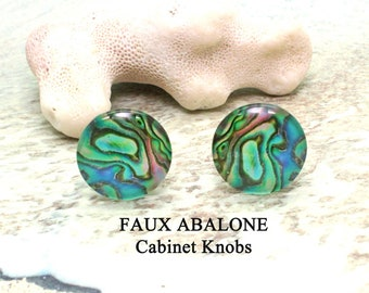 Cabinet Knobs / FAUX ABALONE / Kitchen Knobs / Bathroom Knobs / Drawer Pulls / Knobs / Cabinet Knob / Shell knobs