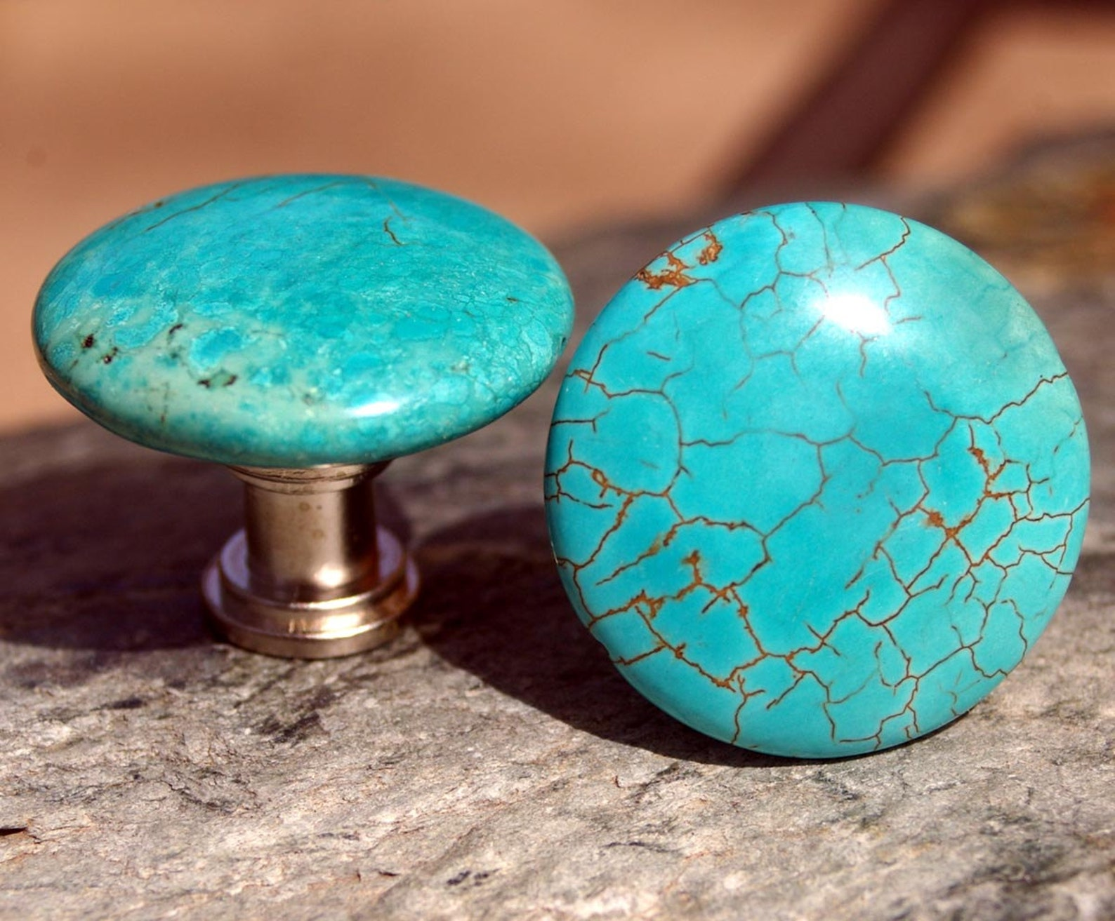 Round Turquoise Cabinet Drawer Knobs