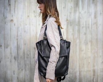 Black Leather Zipper Tote, Laptop Leather Purse, Shoulder Leather Bag Backpack, Women Work Bag, Hand Made Bag