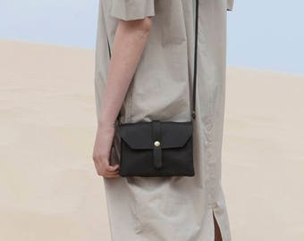 Christmas Sale, Leather Cross Body Bag, Small Leather Bag, Crossbody Purse, Small Handbag, Black Rakel
