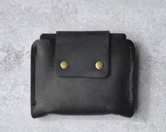 Black Leather Wallet, Slim Leather Wallet, Gift for Him, Front Pocket Wallet - Black Mor