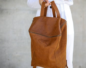 Brown Leather Backpack, Laptop Bag, Travel Bag, School Bag, Honey Brown Leather Bag, Handmade - Honey Brown Lou