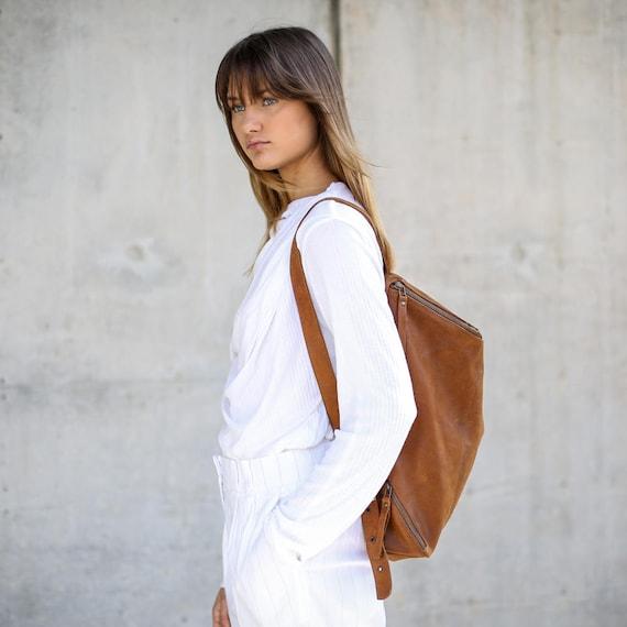 Honey Brown Leather Bag School Bag Handmade Brown Leather Backpack Women Travel Bag Honey Brown Lou