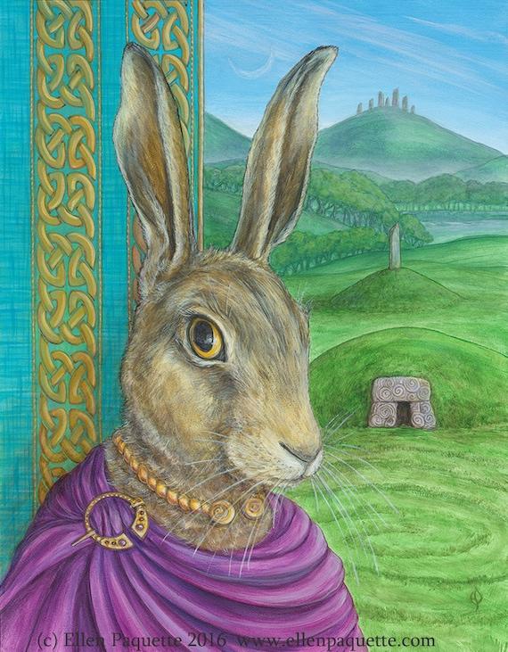 The Bard European Hare Renaissance Animal Portrait Limited Edition Print Rabbit Standing Stones Megalith Celtic Knotwork Ancient Britain