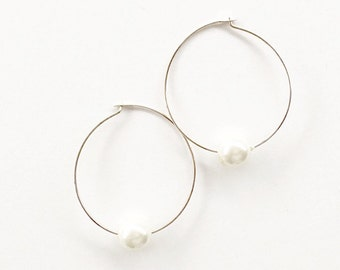 Pearl Hoop Earrings/ Pearl Earrings/ Pearl Hoops/ Small Hoop Earrings/ Beaded Hoop Earrings/ Single Bead Earrings/ Bridesmaid Jewelry (1B)
