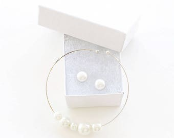 Pearl Jewelry Set/ Pearl Bangle/ Pearl Cuff/ Pearl Studs/ Cabochon Earrings/ Pearl Stud Earrings/ Bridal Jewelry Set/ Bridesmaid Jewelry, 5B