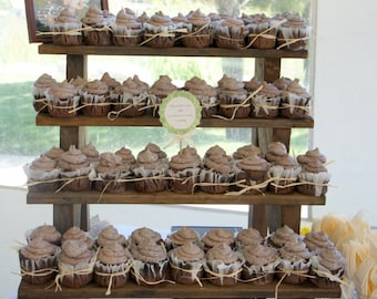 the cupcake stand 4 tiered rustic wooden display stand weddings parties craft fairs boutiques