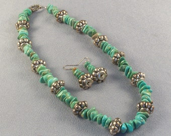 Genuine Turquoise Chips // Necklace and Earrings Set // Handmade // Vintage Antiqued Bead // Luscious Green