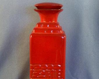 Red Square Pottery Bottle Vase // Inscribed Decoration // Carved Decor // Use as Vase // or Storage Bottle