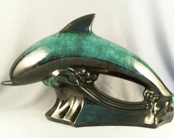 Blue Mountain Keramik Dolphin Skulptur / / toll finden / / Dolphin Liebhaber begeistern / / Signatur Farben / / fließenden grün