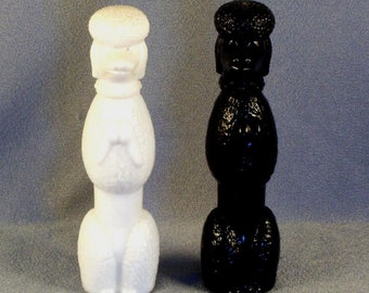Pair of Avon Cologne Bottles // 1 White Poodle // 1 Black Poodle // Standing Up // On Hind Legs // Begging // Posing // Cute // Adorable