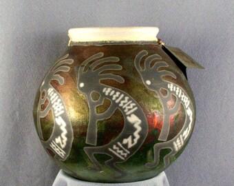 Hand Thrown Pottery by Jeremy Diller // Raku Fired // Art Pottery // One Of A Kind // Three Kokopellis // American Southwest Art