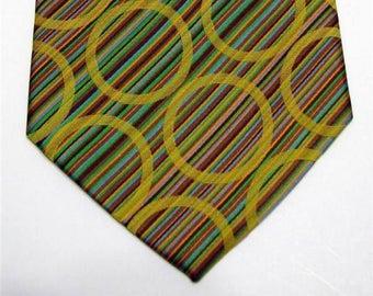 Vintage Disco Era Tie Polyester 1970s Stripes and Circles