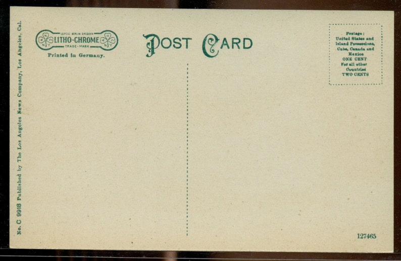 California Adobe House Hollywood Peace Treaty Vintage Divided Back Litho-Chrome Pre-1917 Postcard