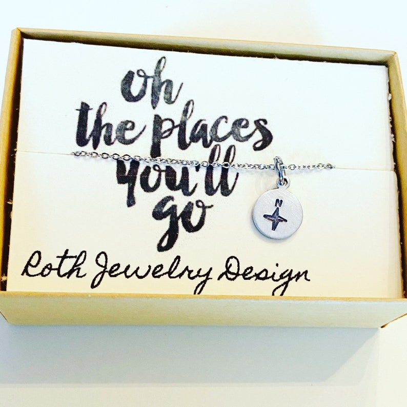 oh the places you/'ll go graduation Gift Compass Dainty Necklace Delicate Minimalist Pendant