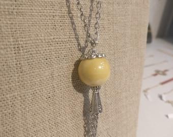 Yellow ceramic Bead Necklace