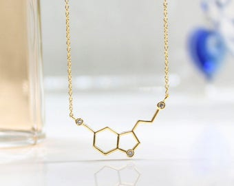 Serotonin Molecule Necklace In Gold And Silver, Healing Necklace, Geometric Hexagon Jewelry,  Hexagonal Cells