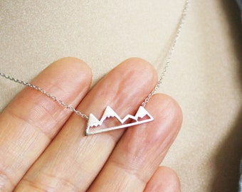Mountain Sterling Silver Necklace Outdoor Gift Sterling Silver Mountain Mountain Necklace Mountain Pendant Outdoor Necklace