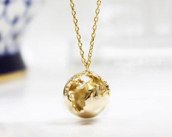 Globe necklace etsy earth necklace globe necklace 3d planet earth pendant traveler gift world necklace world map journey necklace graduation gift aloadofball Choice Image