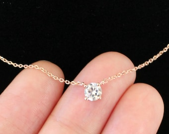 Solitaire Cubic Zirconia Necklace, .925 Sterling Silver Chain/14K Gold Vermeil Chain/Rose Gold Vermeil Chain, Layering Necklace, Wedding