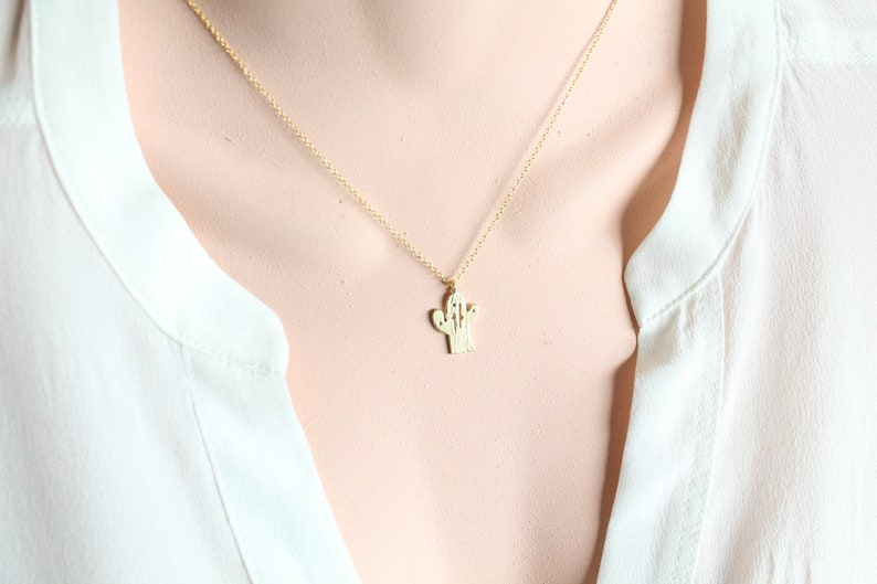 Protection Layering Necklace Lucky Charm Charity Symbolic Charm Choker Necklace Joshua Tree Charm Cactus Necklace Amulet Necklace