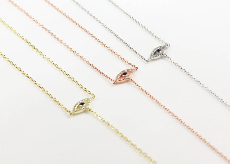 Lucky Charm Symbol Of Protection Blue Cubic Evil Eye Rose Gold Evil Eye Y-Necklace Necklace Lariat Necklace .925 Sterling Silver Chain