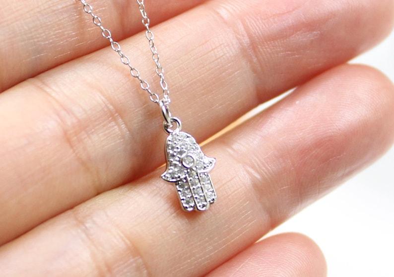 e605641a71f2 Main Hamsa avec zircon pendentif collier Collier ras de cou