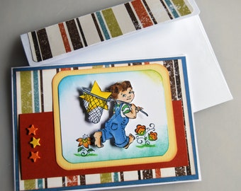 Catch A Falling Star -  Handmade Greeting Card using stamped image of a Boy holding a Net carrying a Star