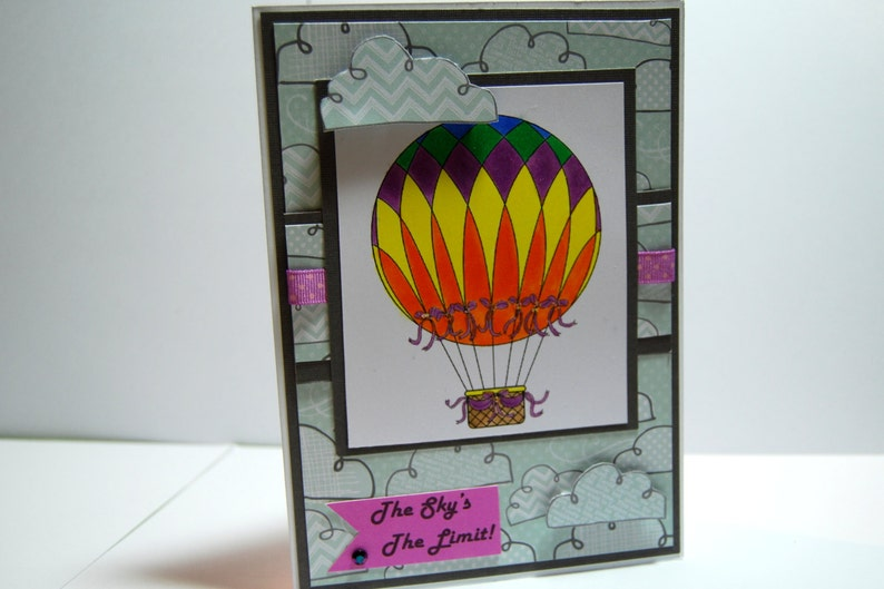 The Sky/'s The Limit! Inspirational Card Hot Air Balloon Handmade Greeting Card