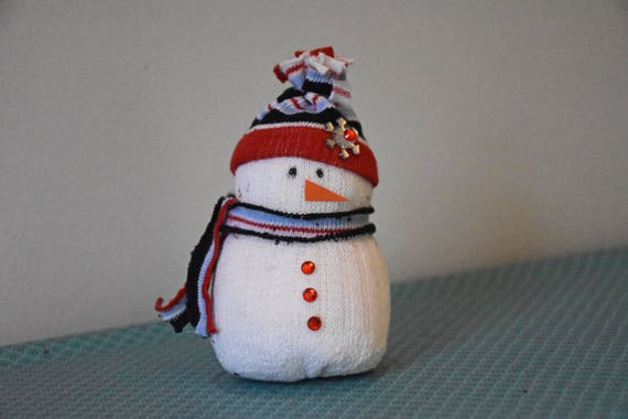 Sand Filled Stuffed Animals, Sock Snowman Red And Blue Sand Filled Handmade With All New Etsy
