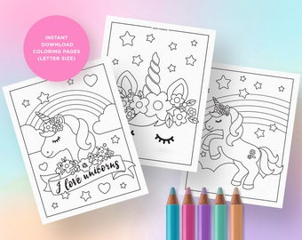Unicorn Coloring Pages Party Activities Birthday Supplies INSTANT DOWNLOAD PRINTABLES