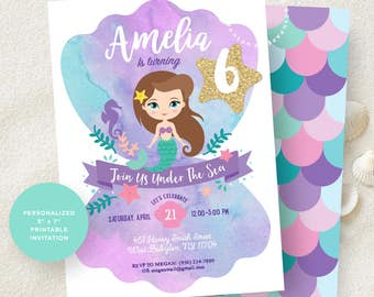 Mermaid Invitation. Little Mermaid Invitation. Mermaid Birthday Invitation. Mermaid Printable Party. Mermaid Birthday Party.