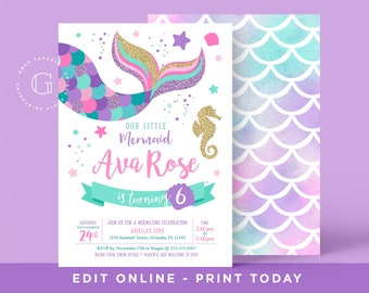 Mermaid Birthday Invitation Pool Party Printables Under The Sea INSTANT DOWNLOAD