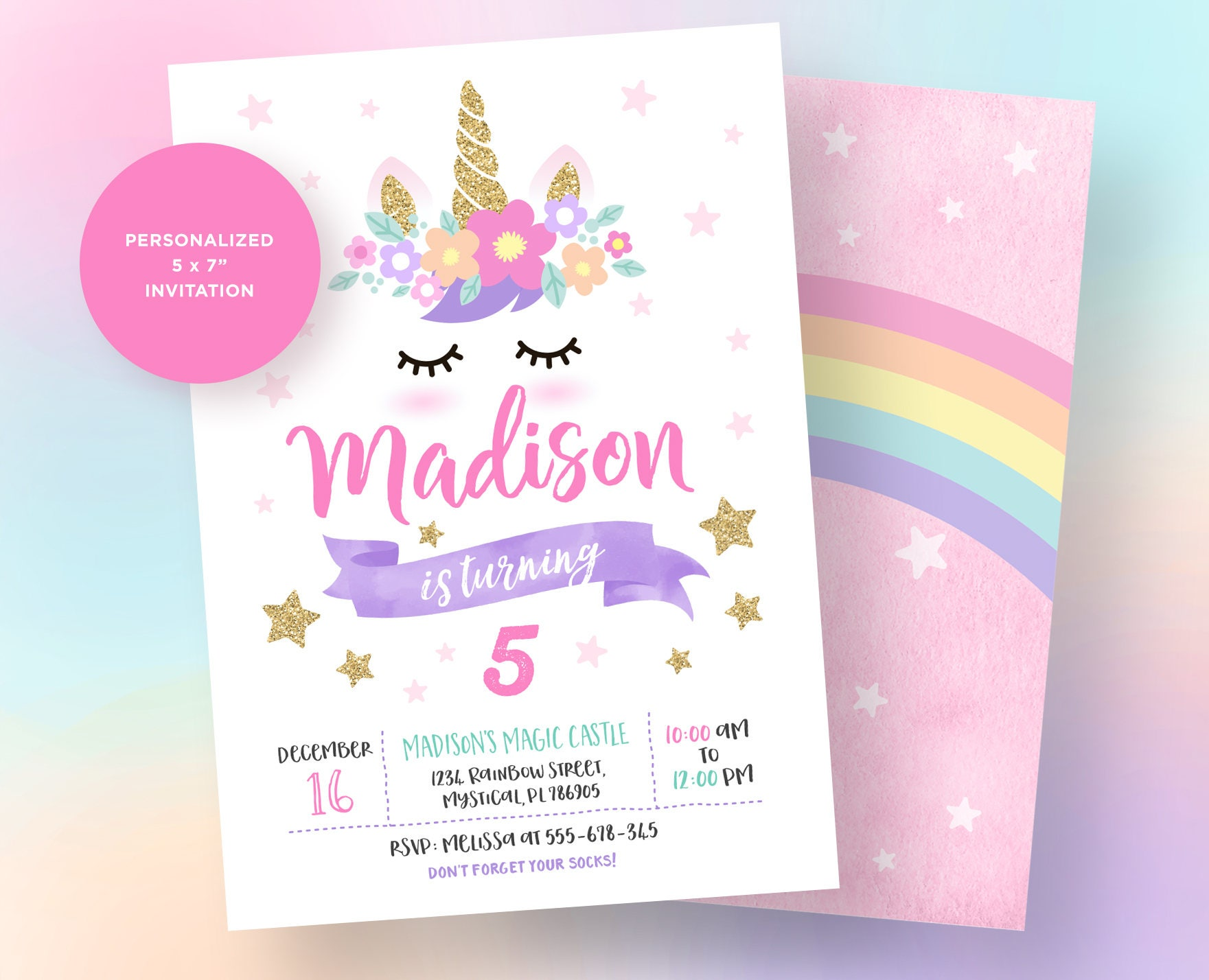 Unicorn Invitation Unicorn Birthday Invitation Unicorn