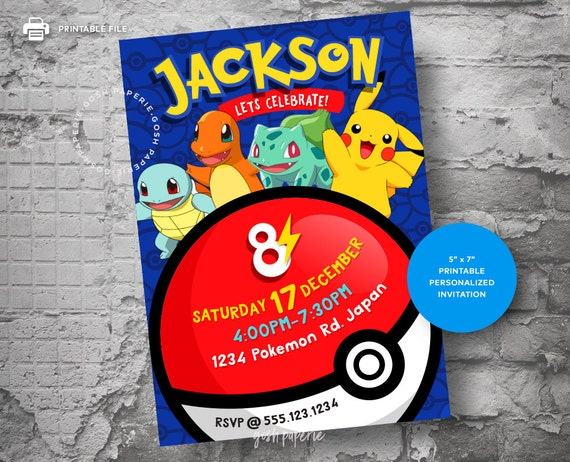 Pokemon Invitation Birthday Card