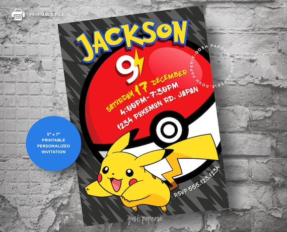 Pokemon Birthday Invitation Card Party GO Pikachu