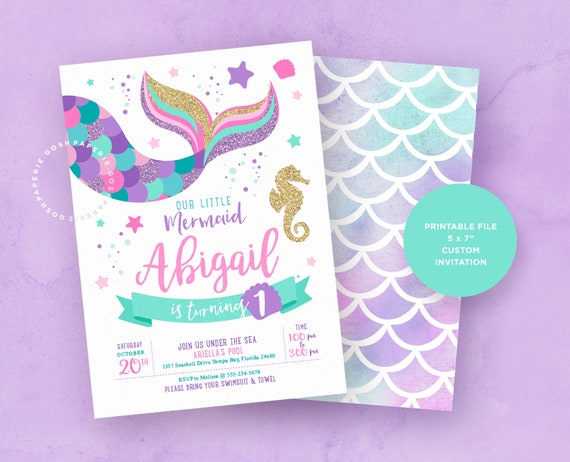Mermaid Invitation Birthday Pool Party Printables Under The Sea INSTANT DOWNLOAD