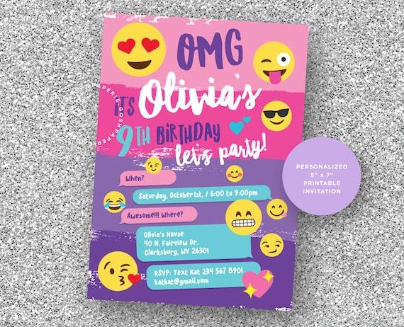 Emoji invitation emoji party emoji birthday party girls etsy image 0 filmwisefo