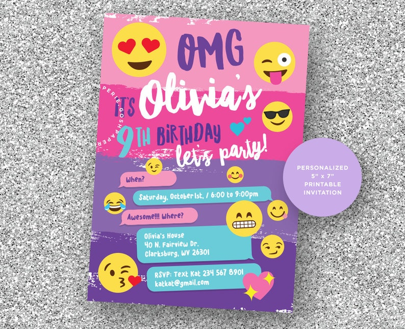 Emoji Invitation Party Birthday Girls
