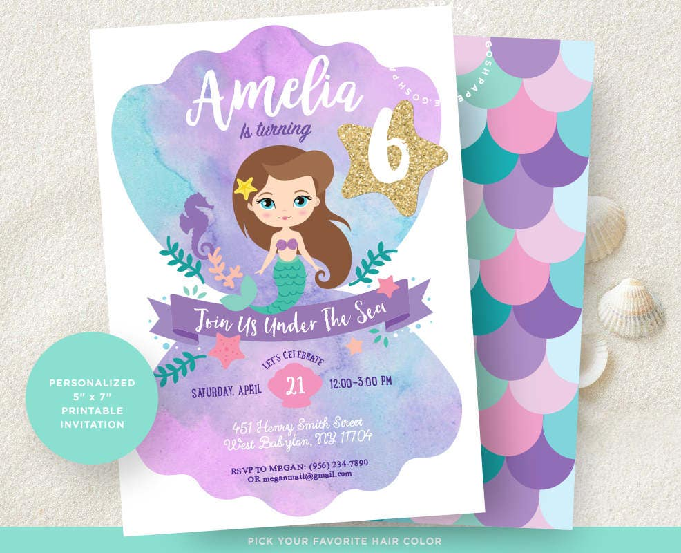Mermaid Invitation Little