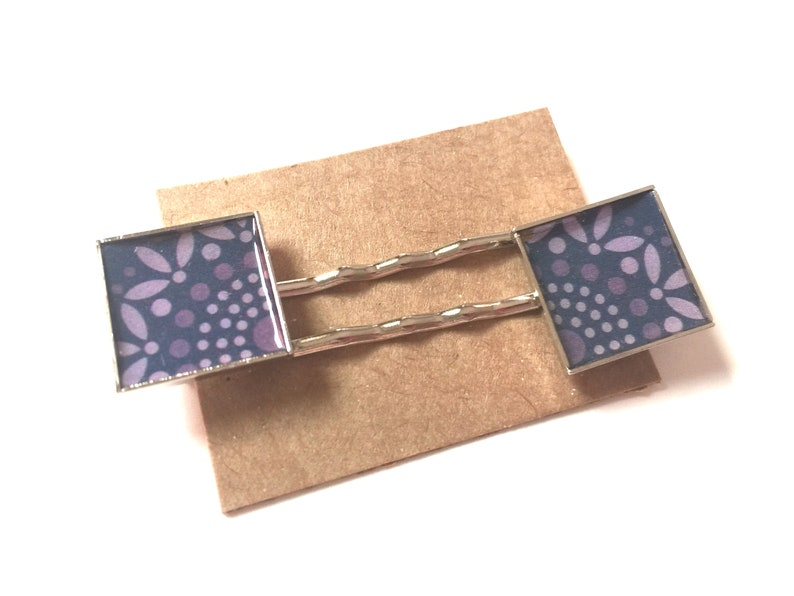 Purple Flower Bobby Pins Hair Barrette Square OOAK Metal Art Accessory Upcycled Recycled Repurposed Art Paper Materials Vintage Swirl Do