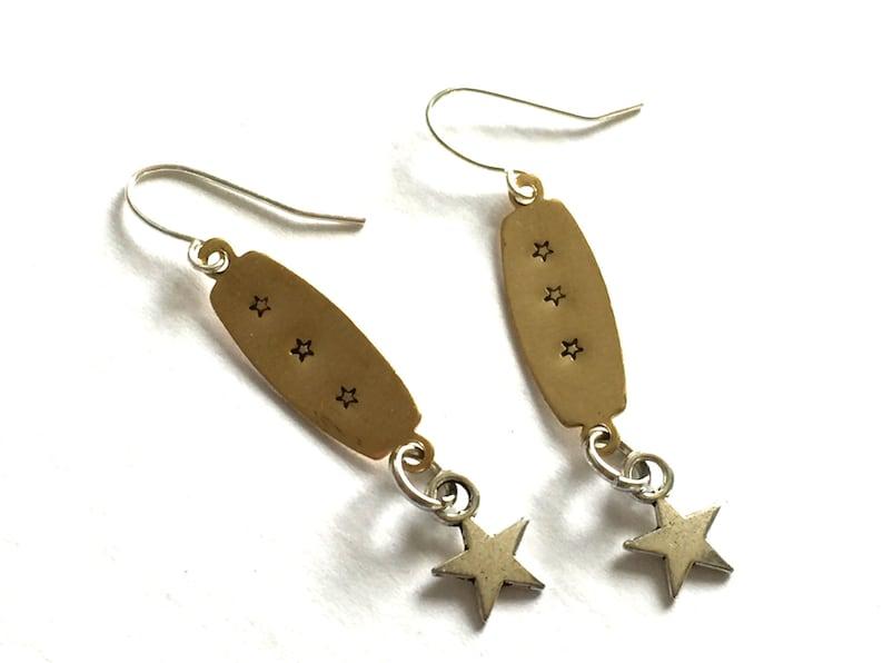 a57ec33e7 Hand Stamped Earrings Celestial Star OOAK Brass Silver Gold | Etsy