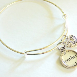 Nurse Bracelet Bangle Adjustable LN Thank You Silver Charm Today Future Word Recycled Paper Repurposed Book Upcycled Materials Jewelry OOAK