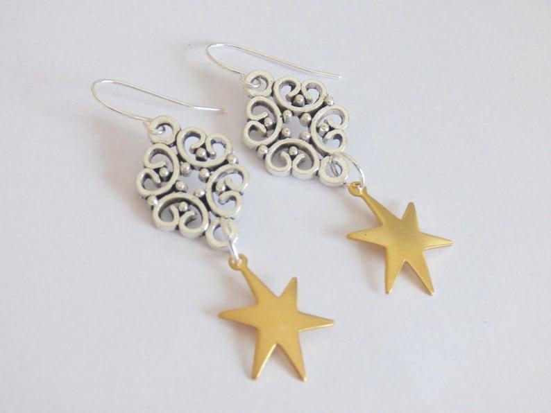 c5377fdbd Brass Star Earring Celestial Filigree Vintage Silver Dangling | Etsy