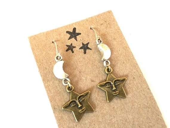 278048434 Star Earrings Dangle Celestial Moon Face Silver Drop Wire Hook | Etsy