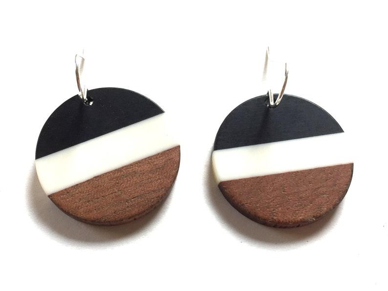 Wood Resin Earrings Dangle Black Stripe Statement Jewelry Wooden Block Color Earrings Unique Minimalist Circle Drop Earring Colorful jewelry