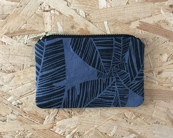 Palm Leaf Coin Purse in Grey // Small Pouch Patterned Screen Printed Zipper Pouch