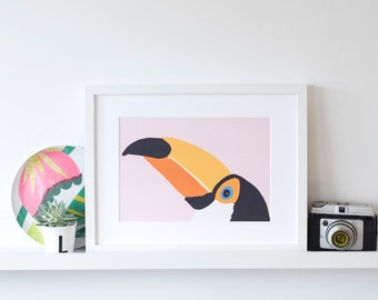 Toucan print wall art a bright and bold print -A5,A4