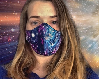 Handmade Fabric Mask - Two Layers - Galaxy print